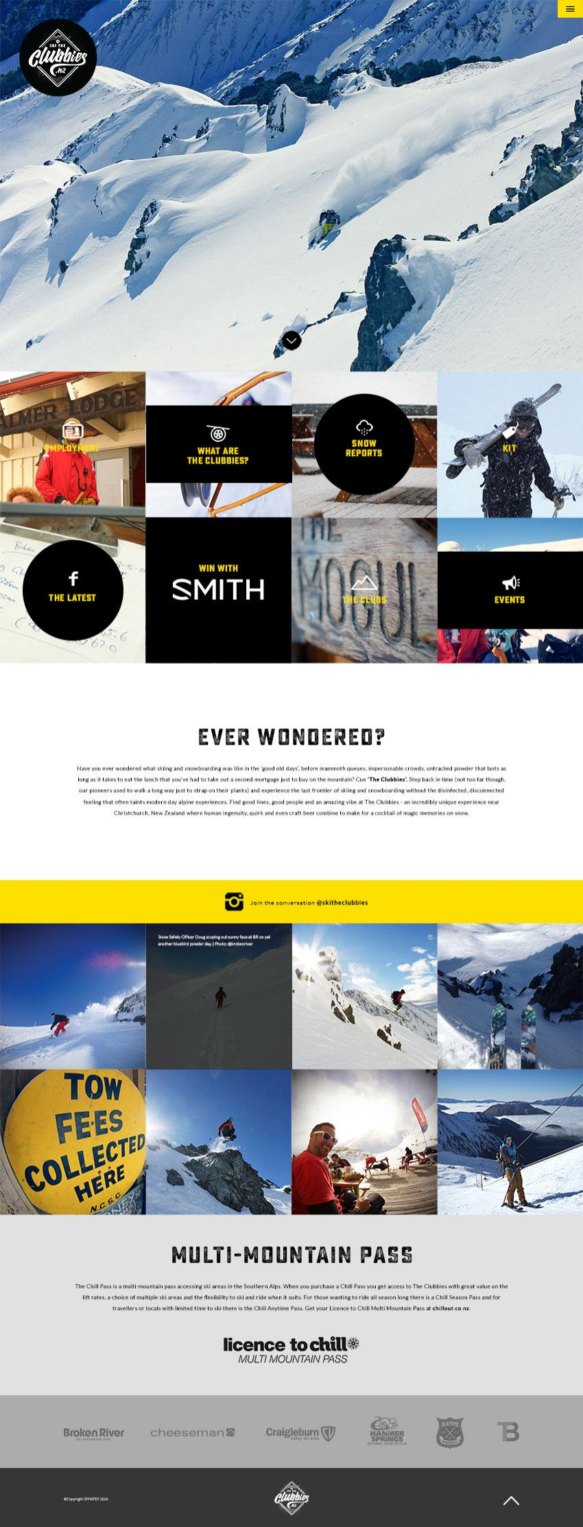 Ski The Clubbies Website Design